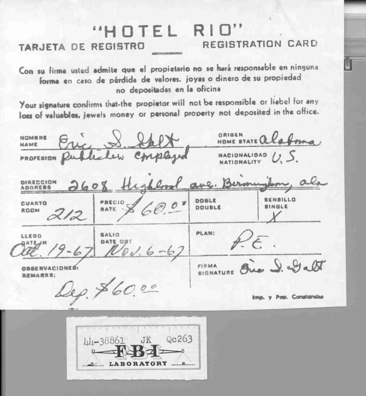 hotel register card Tom Leatherwood, Shelby County Register of Deeds
